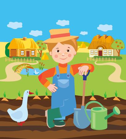 agrarian: Cartoon Young Farmer Working In The Farm. Village Landscape. Vector Illustration. Farmer Working In The Field. Farmer Working In The Farm. Farmer Working Coloring. Working Landscape Drawings. Illustration