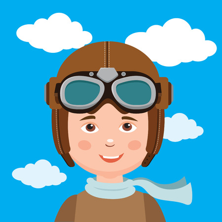 flier: Young Boy Pilot Against Sky Background. Retro Vector Illustration. Boy Pilot Hat. Illustration
