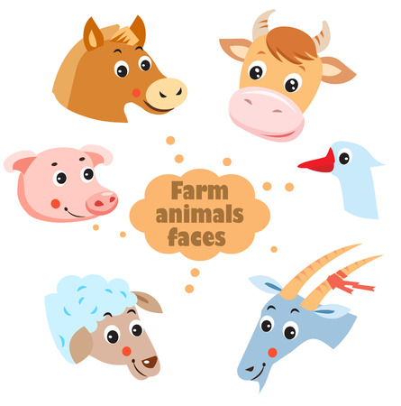 livestock: Farm Animals: Hen, Goat, Goose, Horse, Cow, Pig, Sheep. Pets. Animals On A White Background. Vector Illustration. Agriculture, Village. Animals Village. Livestock Farm. Farm Animals Faces Icons Set.