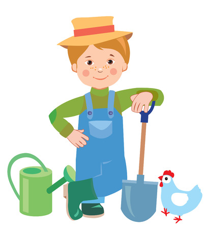 Cartoon Young Farmer. Watering Can, Shovel, Farmer. Farmer Works, Employee. Vector Illustration On White Background. A Hen. Vector Hat. Nature And The Farmer. Farmer Spring. Farmers son Cultivate. Illustration