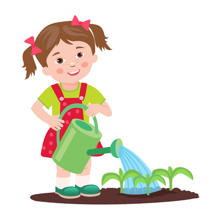 Young Girl Working In The Garden. Garden Watering. Cartoon Vector Illustration On A White Background. Young Farmer Success. Farmer Gifts. Farmers Daughter. Cultivating. Good Job. Farmer.