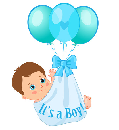 Color Balloons Carrying A Cute Baby Boy. Baby Boy Vector Illustration. Cute Cartoon Babies. Baby Boy Shower Invitation Card. Cute Toddlers. It's A Boy Vector.