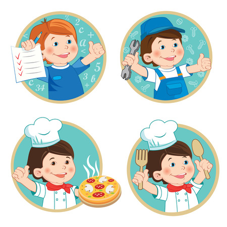 young worker: Kids Profession Education Cartoon Vector Set. School Boy Holding Up His Grades. Happy Boy Mechanic In Work Clothes. Young Boy Chef With Pizza. Young Worker. Illustration