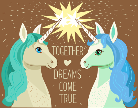 Unicorn Face. Cartoon Vector. Motivation Card With Stars, Decor Elements, Cute Two Enamored Unicorns And Text