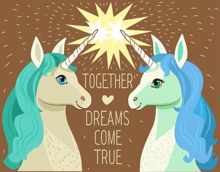 """Unicorn Gezicht. Vector cartoon. Motivatie Kaart Met Sterren, Decor Elements, Schattig Twee verliefd Eenhoorns en tekst """"Samen Dreams Come True"""". Unicorn Gezicht Emoji. Unicorn Face Mask. Unicorn Gezicht Tekening."""
