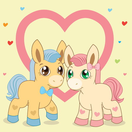 lllustration: Two Ponies. Favorite Ponies. Lovely Pony. Vector Pony. Pony And Heart. Blue Pony. Pink Pony. Fabulous Pony. Vector Horses. The Picture On A Beige Background. Blue Mane. Pink Mane. Vector Handsome. Illustration