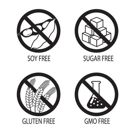 soy free: Healthy Food Symbols. Gluten Free. Sugar Free. Gmo Free. Soy Free. Vector Silhouette On A White Background. Gluten Free Diet. Gluten Free Foods. Gluten Free Recipes. Sugar Free Diet. Sugar Free Food.