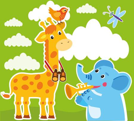 Giraffe And Elephant Cartoon Vector. Baby Frame Or Card. Giraffe Drawing. Giraffe Costume. Giraffe Meme. Giraffe Child. Elephant Cartoon Image. Elephant Cartoon Drawing. Elephant Cartoon Character.