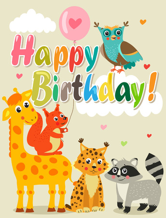 Happy Birthday Card With Funny Animals Vector Illustration