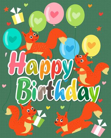 Happy Birthday Card With Cute Squirrel Vector Illustration