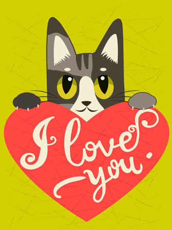 enamored: Enamored Cat With Heart And Text I Love You. Hand drawn Inspirational And Encouraging Quote. Vector Isolated Typography Design Element. I Love You Cat. I Love You Image.