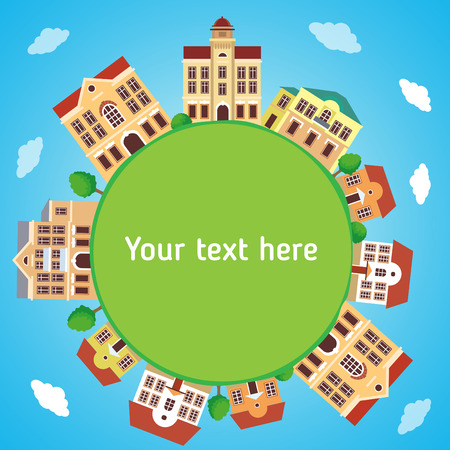 Round Panoramic Town In European Style With Frame Background. Сolorful Houses. Vector Cartoon Illustration. Panorama Townhouse. Panoramic View. Digital Town Hall. Old City Hall. Old Town Spring. Illustration