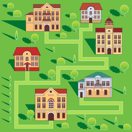 townhomes: Town With Colorful Houses. Seamless Pattern. Vector Cartoon Illustration On A Green Background. Town And Country. Town Square. Town Homes For Rent. Townhomes For Sale. Town Hall. Big Town. Flat Town. Illustration
