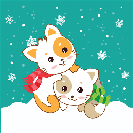 memes: Two Kittens. Cats In The Snow. Vector Kittens. Cats In The Winter. The Cats Play. Playful Cats. Cats And Snow. Vector Illustration. Two Joyful Cats. Cats As Pets. Winter Games. Two Kittens Hugging. Illustration