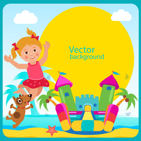 Bouncy Castle. Summer Rest. Cheerful Girl And Her Dog. Bouncy Castle Rental. Bouncy Castle For Sale. Bouncy Castle Commercial. Vector Concept Banner. Bouncy Castle For Kids. Active Holidays. Vectores