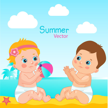 beach ball girl: Baby Boy And Baby Girl On The Beach Vector Illustration. Little Baby Play The Ball On The Beach. Summer Vector Vacation Theme With Small Kids.
