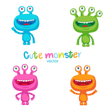 fantastic creature: Cute Colorful Monsters Vector Set. Luck Cartoon Mascot Illustration. Vector Funny Fantastic Space Alien On A White Background. Small Alien Creature.