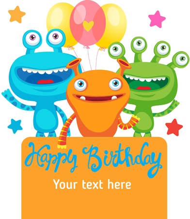 party cartoon: Monster Party Invitation Card Design With Place For Text. Colorful Vector Cartoon Illustration. Funny Birthday Greeting Card. Small Alien Creature.