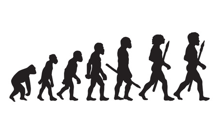 Human Evolution. Human Evolution Chart. Human Evolutionary Biology. Human Evolution Definition. Human Evolution Stages. Human Silhouettes. Isolated Vector: Era, Neanderthal, Progress, Darwin Theory.