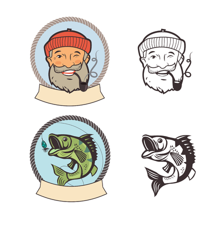 pipe smoking: Fish On A Fishing Hook And Sailor With Pipe. Portrait Character. Fishing Vector Labels. Fishing Logo Set. Old Sailor Picture. Old Sailor Hat. Sailor Pipe Smoking. Old Sailor With Pipe Painting. Illustration
