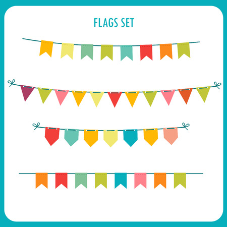 holiday garland: Flags Garlands Colors Vector Set. Vector On White Background. Vector Holiday Clip Art. Holiday Garland Ideas. Holidays Garland Sale. Holiday Garland Images. Commercial Holiday Garlands. Illustration
