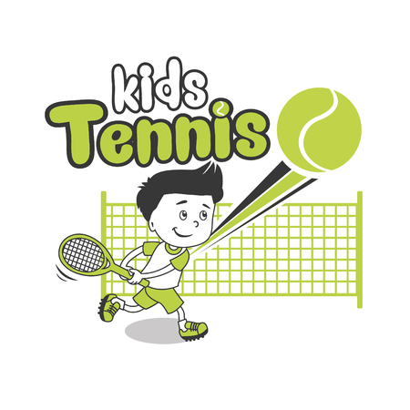 Jonge jongen. Boy tennis. Kids Tennis. Vector illustratie op witte achtergrond. Tennis in College. Tennis voor beginners. Tennis Tips. Speler, jonge sporter. Trainee Gelukkig Player Junior. Stock Illustratie