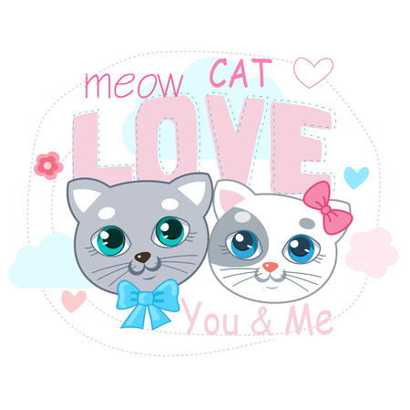 Cute Little Cat Vector Illustration. Love Cat Cartoon Vector. ? ? -Shirt Design Vector Illustration.Two Kitty With Text And Heart. Cute Animal Pictures. Cats In Love Images.