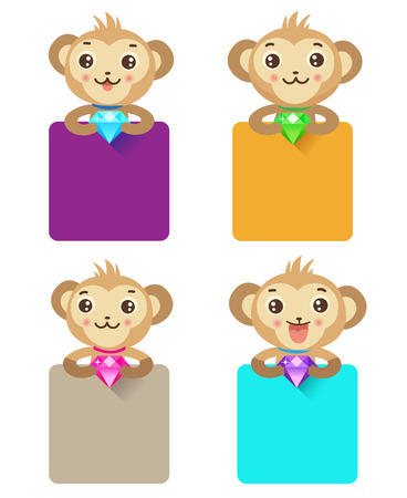 jewelry box: Cute Monkey Holding Jewelry And Various Sign. Set Of Monkey Characters. Cute Icons For Design. Monkey Jewelry Box. Monkey Jewelry Holder. Monkey Jewelry Tray. Price Tag, Topic Title, Label.