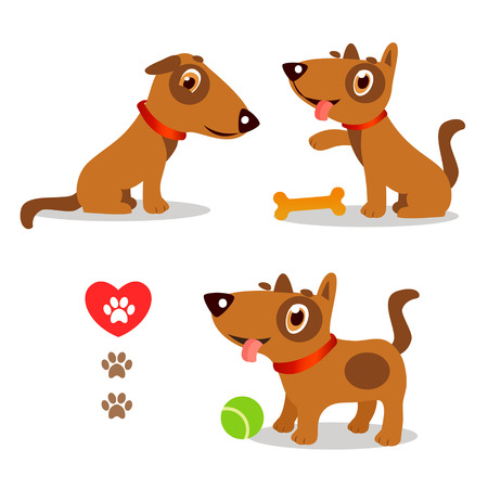 Dogs Funny And Sad. Cartoon Vector Set Illustrations On A White Background. Dogs Funny Faces. Dogs Funny Memes. Dogs Funny Moments. Dogs Funny Talking. Playful Dog Pose. Playful Dog For Kids. Illustration