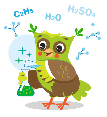 Funny Owl Experimenting With Chemicals. Chemical Formula On A White Background. Cartoon Vector Illustration. Owl Memes. Owl Jokes. Funny Owl Expressions. Owl Gifts. Owl Toy. Owl Sticker. Owl Costume.