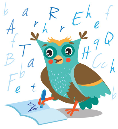 jokes: Funny Owl Learn To Write In A Notebook On A White Background. Cartoon Vector Illustrations. Owl Picture. Owl Memes. Owl Jokes. Owl Sayings. Owl Champion. Owl Gifts. Owl Toy. Owl Sticker. Owl Costume.