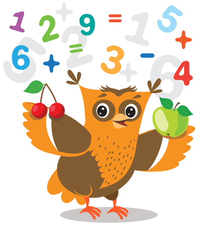 Funny Owl Learn To Count And Numerals On A White Background. Cartoon Vector Illustrations. Owl Picture. Owl Memes. Owl Jokes. Owl Sayings. Owl Champion. Owl Gifts. Owl Toy. Owl Sticker. Owl Costume. Illustration