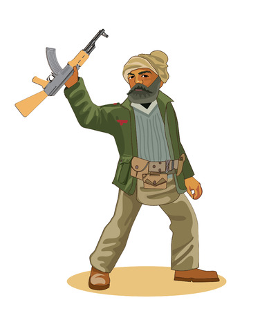 Insurgent Commandos. Man With A Weapons. Vector Illustration Isolated On A White Background. Insurgent Definition. Insurgent Iraq. Iraqi Insurgent Activity. Iraqi Insurgent Missions. Shotgun.