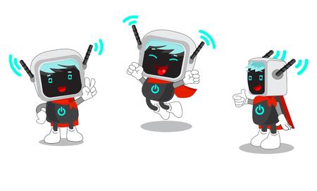 La mascota de dibujos animados de un ordenador y de Internet inalámbrico. Vector fijada en el fondo blanco. Servicios informáticos de la mascota. La mascota del juego de ordenador. Traje de la mascota del ordenador. Dando un pulgar hacia arriba.