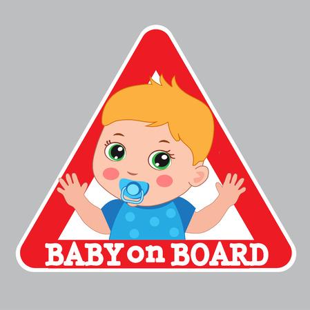 bebe a bordo: Ilustración del bebé en tarjeta del vector. Iniciar Bebé a bordo. Señal de peligro del coche. El chico de color Junta engomada.