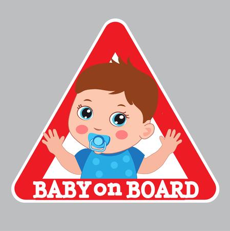 bebe a bordo: Baby Boy On Board Vector Illustration. Baby On Board Sign. Car Warning Sign. Boy On Board Color Sticker.