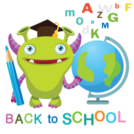 Funny Monster with Globe And Text Back to School On A White Background  Vector Illustrations. Education Theme. Colored Letters Vector. Cartoon Monster Mascot.