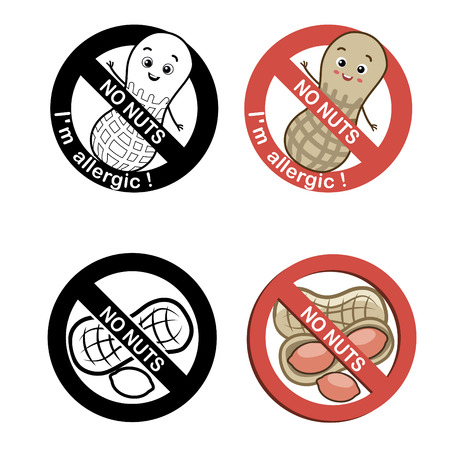 """Nuts Free Symbol Set With Text """"No Nuts - I`m Allergic. Vector Illustrations On A White Background. Nuts Free Desserts. Nuts Free Vector. Nuts Free Symbol. Food Allergy."""