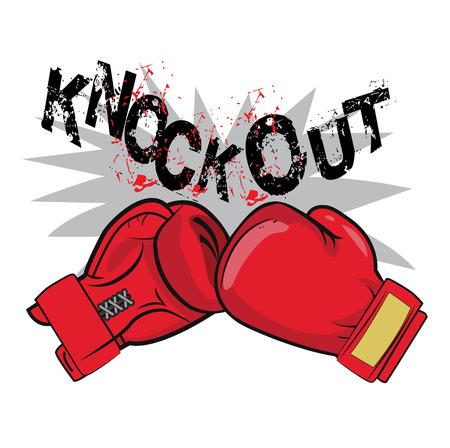 "Bokshandschoenen en tekst ""Knock Out"". Boksen Emblem Label Badge T-shirt van Boxing Fight Theme. Bokshandschoenen voor de mens. Bokshandschoenen Tekening. Bokshandschoenen Tattoo. Bokshandschoenen Te Koop."