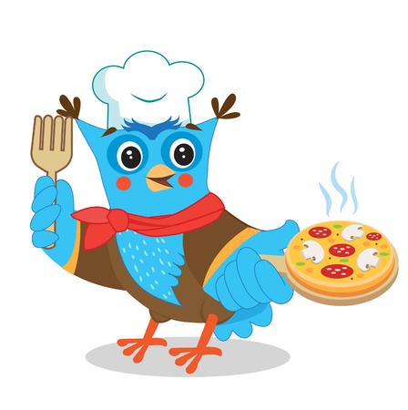 Chef búho con pizza. Imagen linda en un fondo blanco. Búho divertido. Dibujos animados ilustraciones vectoriales. Imagen del búho. Memes búho. Bromas búho. Juguete búho. Pegatina del búho. Traje de lechuza. Pizza Joint. Pizzero. Ilustración de vector