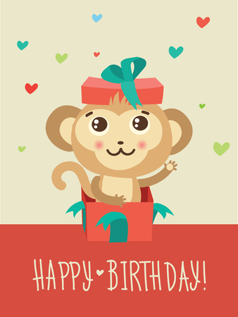 Happy Birthday Card With Funny Monkey Surprise In A Gift Box