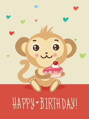 Happy Birthday Card With Funny Monkey And Cake In His Hands
