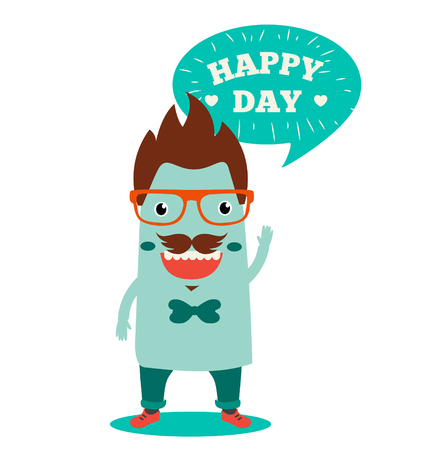 freaky: Freaky Monster And Text Happy day. Vector Illustrations On A White Background. Happy Birthday. Happy Holidays. Happy Thanksgiving. Happy Anniversary. Happy Baby. Happy Day. Cool Hipster. Illustration