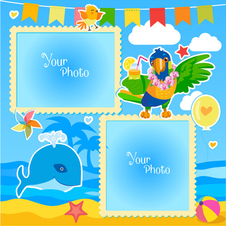 green day baby blue background: Vacation Summer Photo Frames With Sea, Whale and Parrot. Decorative Cartoon Template For Baby, Family Or Memories. Summer Photo Ideas.