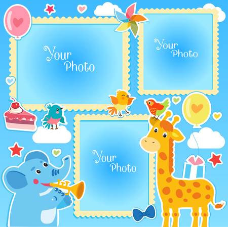 Photo Frames Collage. Photo Frames making at home. Birthday Photo Frames With Giraffe and Elephant. Decorative Template For Baby, Family Or Memories. Birthday Childrens Photo Framework.