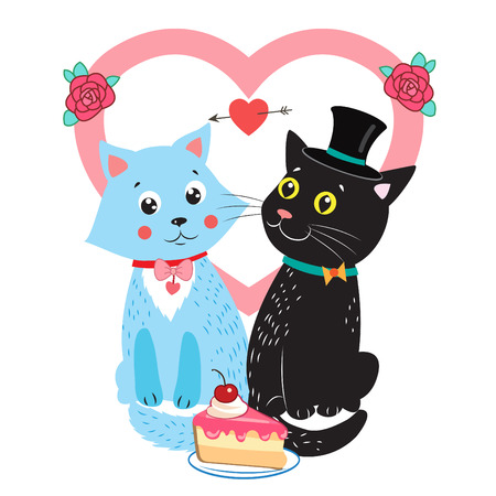 Two Cute Vector Cats. Card Design Elements With Cute Cats. Wedding Invitation Card. Cartoon Bride And Groom Vector Cats. Cute Romantic Background. Illustration