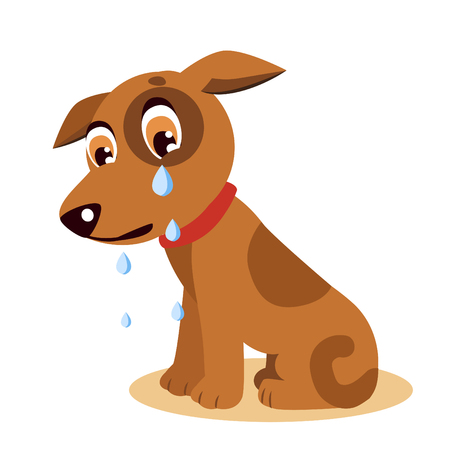 Sad Crying Dog Cartoon Vector Illustration. Dog With Tears. Crying Dog Emoji. Crying Dog Face. Vettoriali