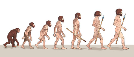 being: Human Evolution. Man Evolution. Historical Illustrations. Human Evolution Vector Illustration. Progress Growth Development. Monkey, Neanderthal, Homo Sapiens. Primate With Weapon.