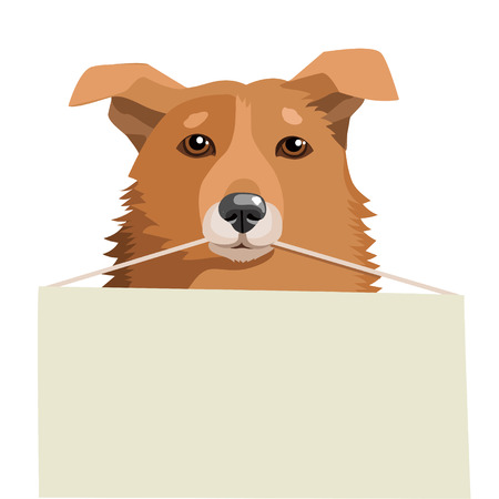 Cute Dog Holding A Blank Sign. Vector Illustration On A White Background. Adoption Dog Near Me. Dog Shelters. Free Animals For Adoption. Search Friend. Illustration