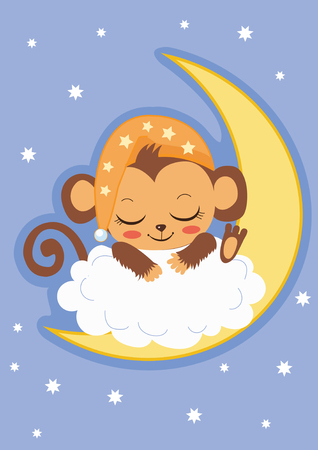 Mono lindo del bebé está durmiendo en la luna. Tarjeta de la historieta del vector. Mono del bebé para la venta. Traje de mono bebé. Mono del bebé de la muñeca. La ropa del bebé del mono. Mono del bebé de la felpa. La mascota del mono del bebé. Ilustración de vector